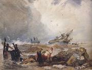 John sell cotman Lee Shore,with the Wreck of the Houghton Pictures (mk47) oil painting artist