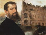 Maerten van heemskerck Self-Portrait of the Painter with the Colosseum in the Background oil painting picture wholesale