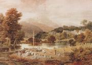 Ramsay Richard Reinagle A Slate Wharf,with the Village of Clappersgate and Coniston Fells,near the Head of Windermere-Forenoon (mk47) oil painting picture wholesale