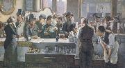 john henry henshall,RWS Behind the Bar (mk46) oil painting artist