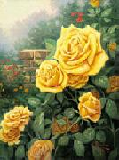 unknow artist Yellow Roses in Garden oil painting picture wholesale