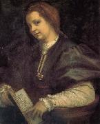 Andrea del Sarto Take the book portrait of woman oil painting reproduction