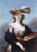 Elisabeth Louise Viegg-Le Brun self portrait in a straw hat oil