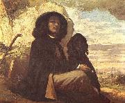Gustave Courbet Selfportrait with black dog oil painting picture wholesale