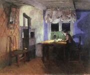 Harriet Backer by lamplight oil painting artist