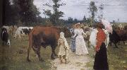 Ilia Efimovich Repin Girls and cows oil painting picture wholesale