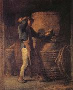 Jean Francois Millet The peasant in front of barrel oil painting picture wholesale