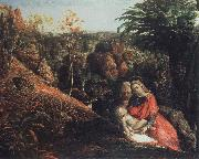 Samuel Palmer landscape with repose of the holy family oil painting picture wholesale