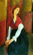 Amedeo Modigliani Jeanne Hebuterne in Red Shawl oil painting picture wholesale