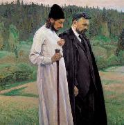Mikhail Nesterov Philosophers depicts Symbolist thinkers Pavel Florensky and Sergei Bulgakov oil painting picture wholesale