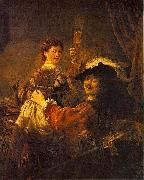 REMBRANDT Harmenszoon van Rijn Rembrandt and Saskia pose as The Prodigal Son in the Tavern oil painting picture wholesale