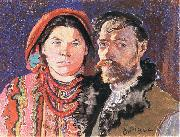 Stanislaw Wyspianski Self Portrait with Wife at the Window, oil painting artist