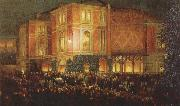 arthur o shaughnessy outide the bayreuth festspielhaus oil