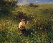Ludwig Knaus Girl in a Field oil painting