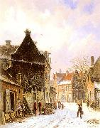 Adrianus Eversen A Village Street Scene in Winter oil