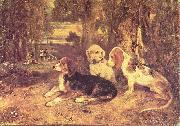 Alexandre-Gabriel Decamps Jagdhunde oil painting