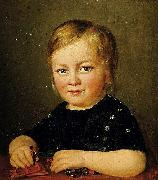 Anonymous Child with toy figures oil