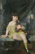 Douglas Volk Young Girl in Yellow Dress Holding her Doll, oil