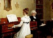 Edmund Blair Leighton Singing to the reverend oil