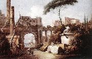 Giuseppe Zais Ancient Ruins with a Great Arch and a Column oil painting