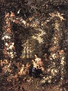 Jan Brueghel The Elder Heilige Familie in einem Blumen oil painting on canvas