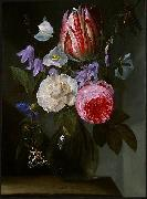 Jan Philip van Thielen Roses and a Tulip in a Glass Vase. oil