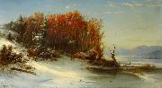 Regis-Francois Gignoux First Snow Along the Hudson River oil painting artist