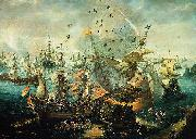 WIERINGEN, Cornelis Claesz van explosion of the Spanish flagship during the Battle of Gibraltar oil painting artist