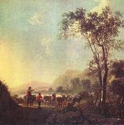 Aelbert Cuyp Landscape with herdsman and cattle. oil