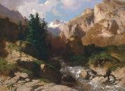 Alexandre Calame Mountain Torrent oil on canvas painting by Alexandre Calame, about 1850-60 oil painting