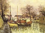 Alfred Sisley Kahne auf dem Kanal Saint-Martin in Paris oil painting reproduction