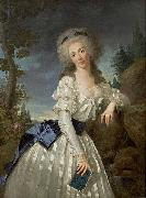 Antoine Vestier Portrait of a Lady with a Book, Next to a River Source oil painting