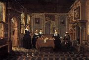 Bartholomeus van Bassen Five ladies in an interior oil painting