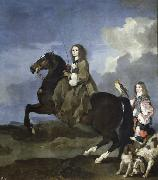 Bourdon, Sebastien Queen Christina of Sweden on Horseback oil painting reproduction