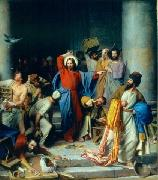 Carl Heinrich Bloch Jesus casting out the money changers at the temple oil painting