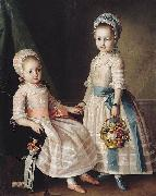 Carl Ludwig Christinec Portrait of Two Sisters oil painting on canvas