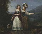 Carlo Labruzzi Aleksandra and Izabela Potocki taking a stroll near to lake Albano. oil