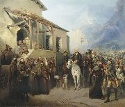 Creator:Adolf Charlemagne. Field Marshal Alexander Suvorov at the top of the St. Gotthard September 13 oil
