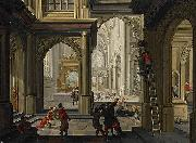 Dirck van  Delen Iconoclasts in a church oil painting artist