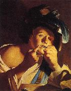 Dirck van Baburen Man Playing a Jew s Harp oil painting artist