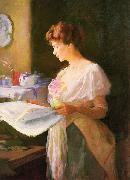 Ellen Day Hale Morning News oil painting artist