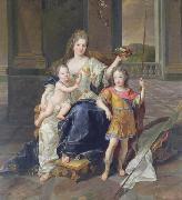 Francois de Troy Painting of the Duchess of La Ferte-Senneterre with the future Louis XV on her lap (then styled the Duke of Anjou) and the Duke of Brittany standing n oil painting