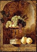 Frans Snyders Grapes, Peaches and Quinces in a Niche oil