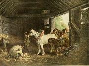 George Morland The inside of a stable oil
