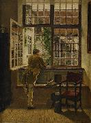 Henrik Nordenberg Interior with a boy at a window oil