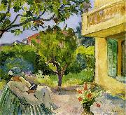 Lebasque, Henri Madame Lebasque Reading in the Garden oil painting reproduction