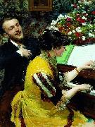 Leon Wyczolkowski I once saw - scene at the piano. oil painting reproduction