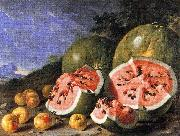 Luis Melendez Still Life with Watermelons and Apples, Museo del Prado, Madrid. oil painting artist