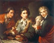Maggiotto, Domenico Selfportrait with his two students Antonio Florian and Giuseppe Pedrini oil painting artist