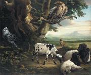Philip Reinagle Birds of Prey, Goats and a Wolf, in a Landscape oil painting artist